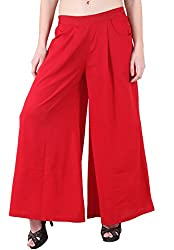 Ruhaans Womens Crepe Red Color Regular Fitted Plain Palazzo (MF_2637_S)