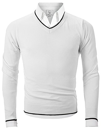 Mocotono Herren V-Ausschnitt Strickpullover Langarmshirt Sweatshirts Weiß S