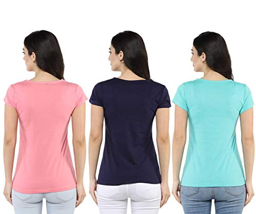 Modeve Women's Printed Tshirt (Pack of 3)_Light Pink, Navy and Turquoise_X-Large