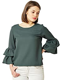 Miss Chase Women's Green Ruffled Top