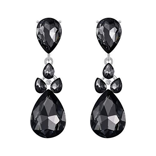 (Flyonce Damen österreichische kristall hochzeit braut charme teardrop durchbohrte ohrringe schwarz silber-ton)