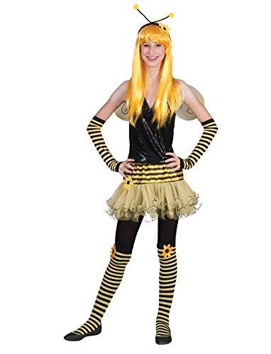 Kostüm Teenager Bienen Rock Einheitsgröße Damen Rock Haarreif Flügel Bienenkostüm Tierkostüm Schwarz Gelb Gestreift Karneval Fasching Pierro\'s