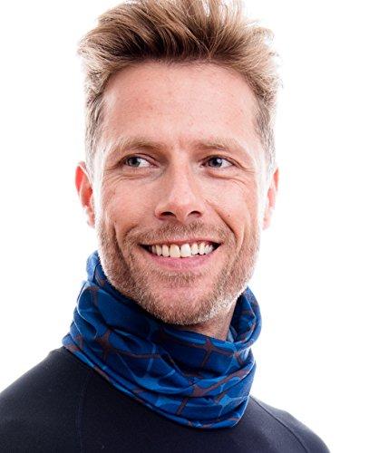 Hilltop Multifunktionstuch. Cooles und warmes Kopf- und Halstuch in modernen aktuellen Farben, Farbe/Design:Netz braun - blau (A-line Netz)