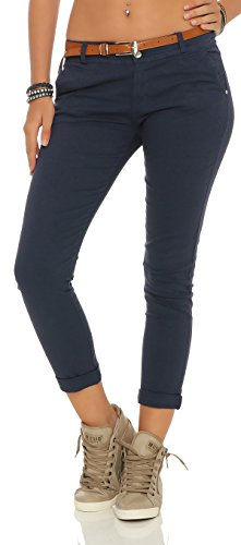 ZARMEXX Damen Stretch Röhrenhose mit Gürtel Chino Skinny Stoffhose Jeggings viele Farben (XL(42), navy)