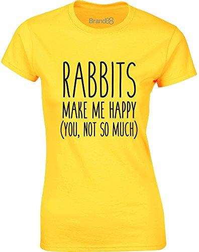 Brand88 - Rabbits Make Me Happy, Gedruckt Frauen T-Shirt Gänseblümchen-Gelb/Schwarz