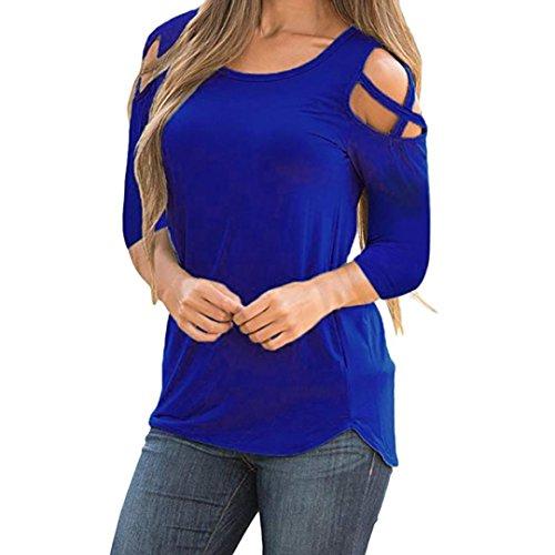 Riou Damenbekleidung,Damen Sieben Viertel Ärmel Rückenfrei Tops Elegant Bequem Lösen beiläufigen Oberteile Pullover Blusen Herbst (XL, Blau)