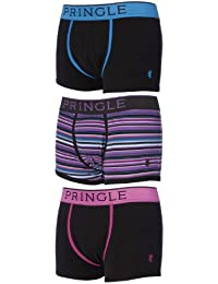 Mens 3 Pair Pringle of Scotland Plain and Stripe Cotton Boxer Shorts In Black