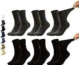 Vitasox 31120 Gesundheitssocken extra weiter Bund ohne Gummi, Venenfreundliche Socken mit breitem Schaft verhindern Einschneiden & Drücken, 6 Paar Schwarz Anthrazit 39/42
