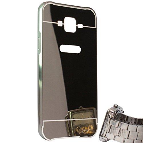 KPH Luxury Mirror Effect Acrylic back + Metal Bumper Case Cover for SAMSUNG GALAXY J7, Black