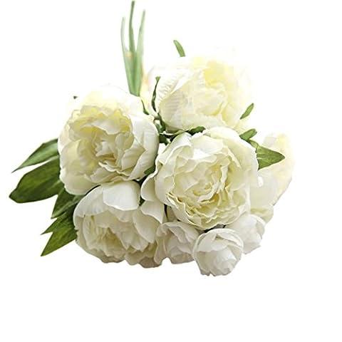 Fleurs artificielles, Oyeden Bouquet de pivoines artificielles en soie Décoration pour fêtes de mariage Artificielle Fleur En Papier DIY Décoration Maison Mariage Baptême Jardin (Blanc)