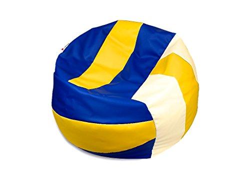 kissenwelt.de *Weihnachts SALE* Sitzsack Volleyball M (Ø 90cm) - Kunstleder - Gelb/Blau / Weiss - Made in Germany