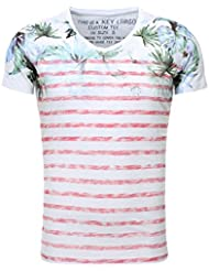 Key Largo Herren T-Shirt PALM TREE Slim Fit Schnitt Vintage Look Sommershirt Printshirt verwaschen Flowerprint Blume Palmen gestreift Frontprint