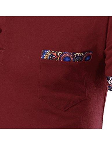 LIANIHK Herren Poloshirt Kurze Ärmel T shirt Polo Shirts Streetwear Attraktiv Drucken Tees Rot 1