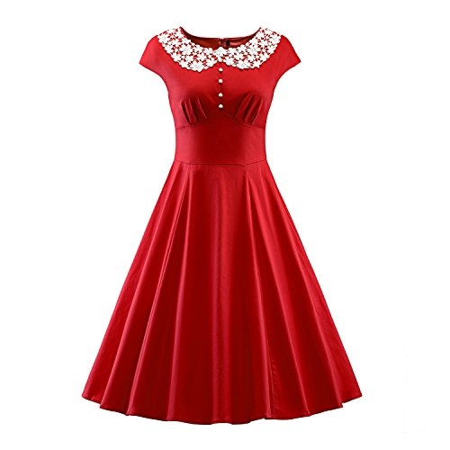LUOUSE-Women-Lace-Collar-Vintage-Cap-Sleeve-Rockabilly-Party-Swing-Dress