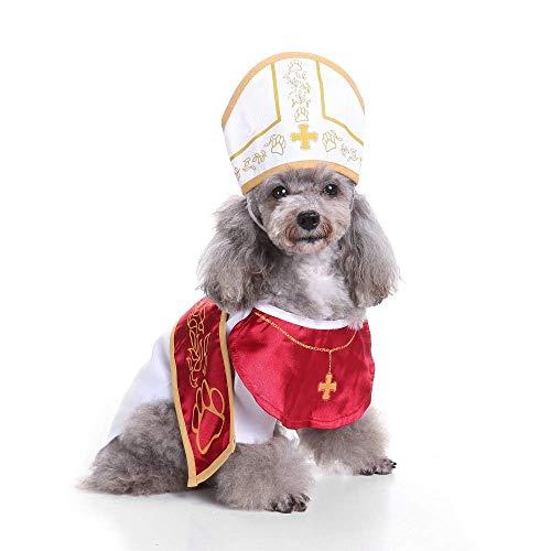 Coppthinktu Heiliger Papst Hund Haustier Kostüm Halloween Patenanzug mit Hut, Large, Mehrfarbig (Im Katze Hut Halloween-kostüme)