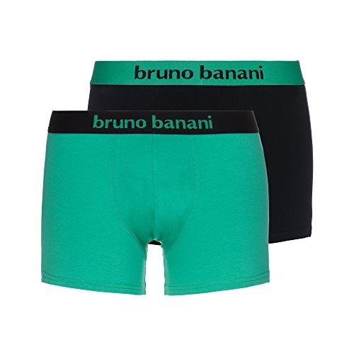 bruno banani Herren Boxershorts Short 2er Pack Flowing, Mehrfarbig (Jadegrün// Schwarz 2543), Medium