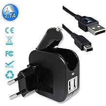 Exlene® 3DS USB Chargeur de voyage voiture et mur avec 1,2 m 3DS câble pour Nintendo 3DS, 3DS XL, 2DS, DSi, DSi XL, iPhone, ipad, Smartphone et plus (noir)