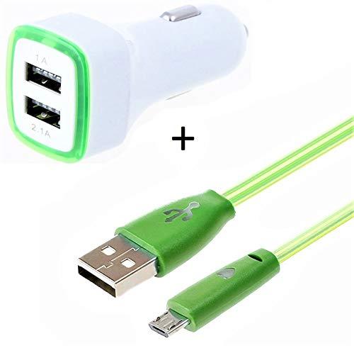 Access-Discount - Caricabatterie da Auto per Wiko View 3 Smartphone Micro USB (Cavo Smiley + Doppio Adattatore LED accendisigari), Colore: V