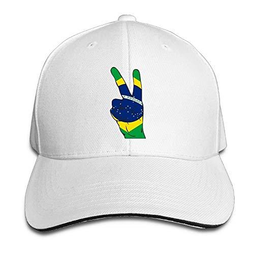 Daisy Evans Unisex-Friedenszeichen von Brasilien-Flaggen-Baseballmütze Adjustable Peaked Sandwich Cap