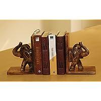 Lucky Elephant Book End–Feng Shui Trunk Up Elephant–fermalibri in legno di mango 20.5centimeters Handmade Book End per casa, accessori da tavola e cucina Decor/scaffale/Kids Room/soggiorno
