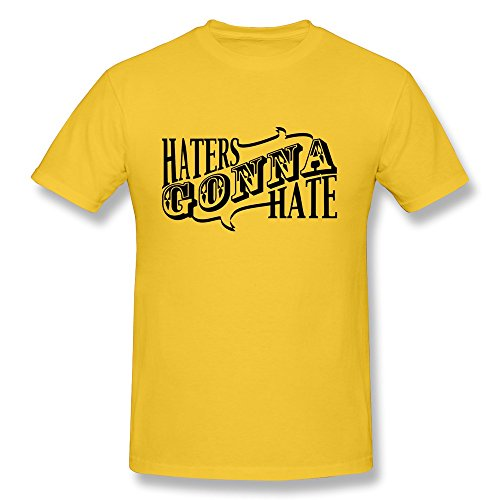Uomo's Haters Gonna Hate Cotton Round Collar T Shirt,,Yellow XX-Large