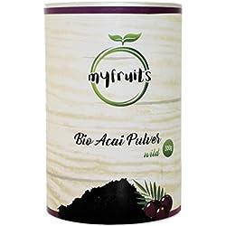 myfruits Bio Acai Pulver - gefriergetrocknet, ohne Zusätze, dunkelviolett. Wild gewachsen im Amazonasgebiet. Aus 5,4 kg frischen Beeren. Abgefüllt in Deutschland - finest superfood (300g)