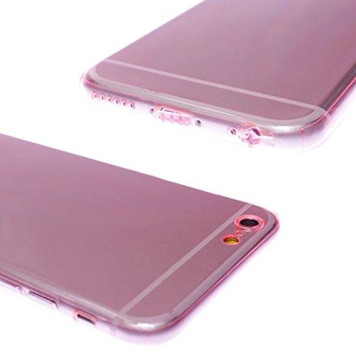 wortek Designer High Quality TPU Silikon - Case für Apple iPhone 6/S Schutz Hülle Kameraschutz / Staubschutz Grau Pink