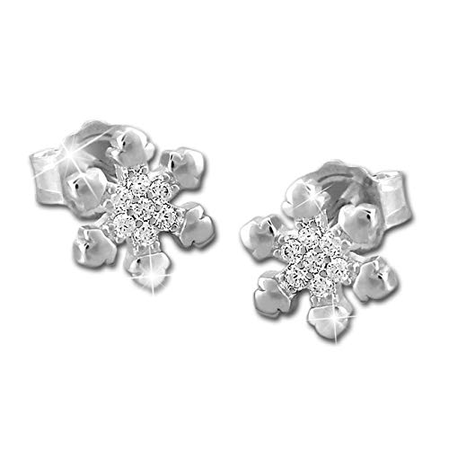 SilberDream Ohrringe Schneeflocke weiß Zirkonia Ohrhänger 925 Silber GSO484W - Schneeflocke Ear Cuff