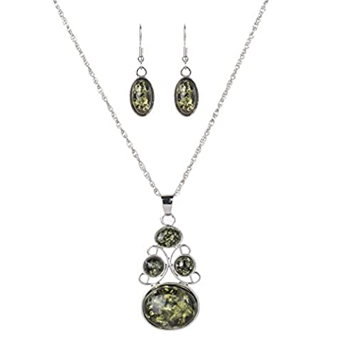 YAZILIND Femmes Vert Faux Ambre Oval Collier Boucles d'oreilles collier
