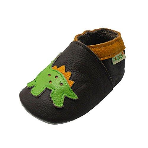 Sayoyo Dinosaurier WeichesLeder Lauflernschuhe Krabbelschuhe Babyschuhe Dunkelbraun