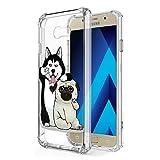 Zhuofan Plus Coque Samsung Galaxy A5 2017, Silicone Transparente avec Motif Design Antichoc Coussin d'air Housse TPU Souple Airbag Shockproof Case Cover pour Samsung A5 2017 5,2', Chien