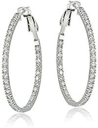 Sterling Silver 35MM Inside Out Cubic Zirconia Hoop Earrings