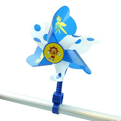 Kid 's Bike Windmühle–Spinning Lenker Pinwheel | Kinder Fahrrad Zubehör–Halterung am Lenker mit Easy Fit Clip, blau / weiß