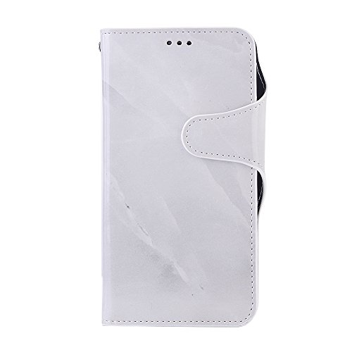 iPhone X Hülle, Valenth PU Leder Marmor Brieftasche Hülle Cover [Stand Feature] [ID Card Slots] Flip Cover für iPhone X Weiß