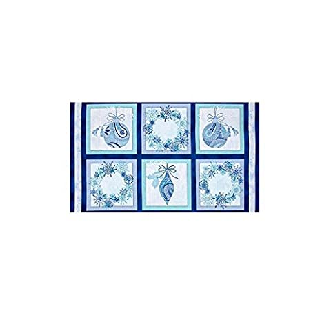 Winter Frost Christmas Ornaments & Wreath Blue Fabric Panel Fabrics