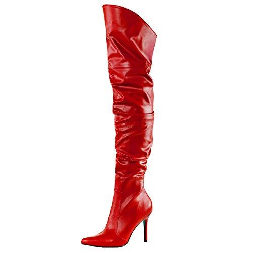 Overknee, Damen, Rot (rot) Rot (Rot)