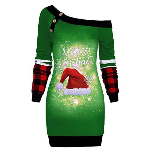 BOLANQ Damen Weihnachten Shoulder Tops Schneeflocke Weihnachten Hut Druck Plaid Pullover Buttons Große Lange Tops(X-Large,Grün)
