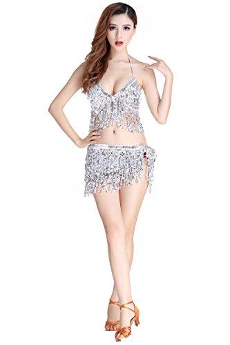 Hougood Latin Kleider für Damen Bauchtanz Kostüm Latin Indian Bauchtanz Pailletten BH Top + Sexy (Latino Kostüm)