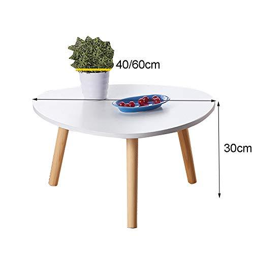 HAIZHEN Tables basses Table basse en bois massif, petite table ronde à la maison, table de fenêtre à baie stable pour balcon, chambre à coucher (Couleur : B, taille : 60×30cm)
