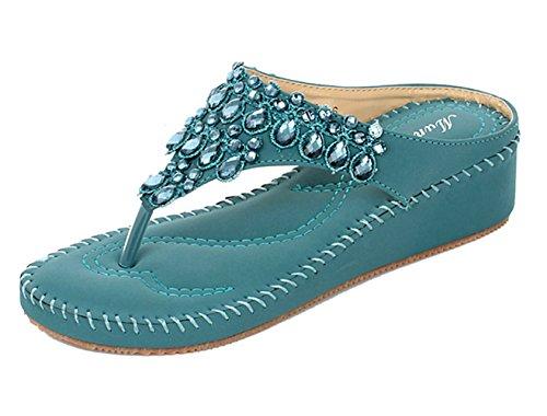 DQQ Damen Tanga Strass Stich Keil Sandale, Blau - Blau - Größe: 39