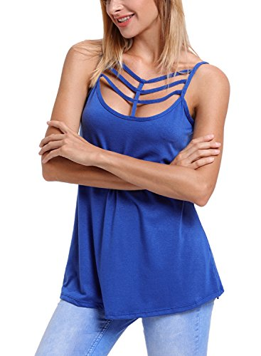 Aleumdr Damen Tank Top Sexy tief U-Ausschnitt mit Vorne Schnürung ärmellosen Bluse Shirt Top T-Shirt Blau