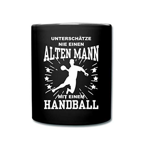 Spreadshirt Unterschätze Nie Alten Mann Mit Handball Tasse einfarbig, Schwarz