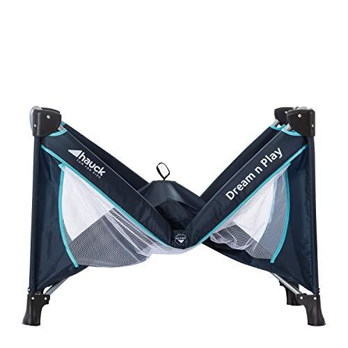 Hauck Kindereisebett Dream N Play Plus inklusive Matratze, seitlichem Reißverschluss, und Transporttasche, ab Geburt, tragbar, faltbar und klappbar, blau (navy aqua) 120 x 60 cm - 15