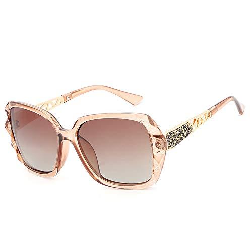 M.J.ZUR Sonnenbrillen Womens Large Frame Sonnenbrillen Polarisierende UV-Sonnenbrillen (Color : Tea, Size : Kostenlos)