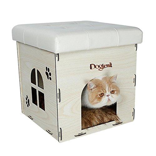 Ottomano Pet Con Lino, Nero Bianco Beige Marrone pieghevole Casa in legno fatta a mano di alta qualità solido contenitore di legno , white