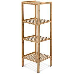 Estantería bambú para baño, 4 Niveles, Natural, 33x33x110 cm