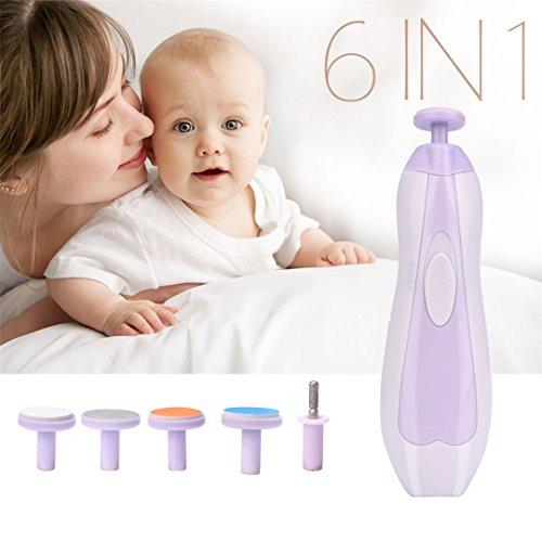Tragbare Baby Nagelfeile, 6 in 1 elektrische Baby Nagelknipser Fingernägel & Zehennägel Trimmer Maniküre Kit für Neugeborene Kleinkind -