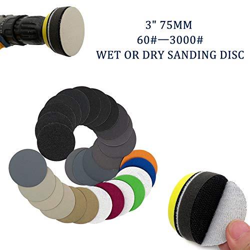 Maso Klett-Schleifscheiben, 7,6 cm, für Nass-/Trocken-Schleifscheiben mit 75 mm Klettverschluss-Rückseite, insgesamt 10 Scheiben, mehrfarbig