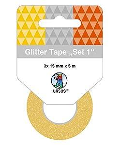 Ursus 58830001Glitter Tape Set, 3Rollos, 15mm x 5m, Oro/Plata/Cobre