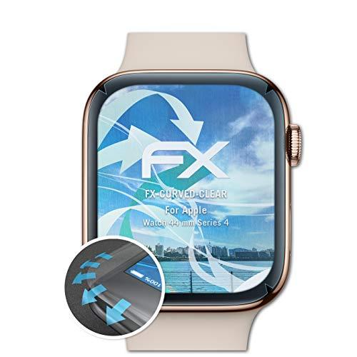 atFoliX Apple Watch 44 mm (Series 4) Protector Película - 3 x FX-Curved-Clear Flexibles Película Protectora